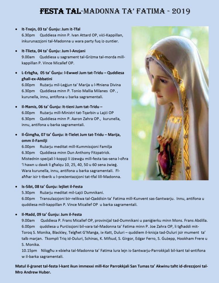 prog litur Festa Fatima 2019 stampa
